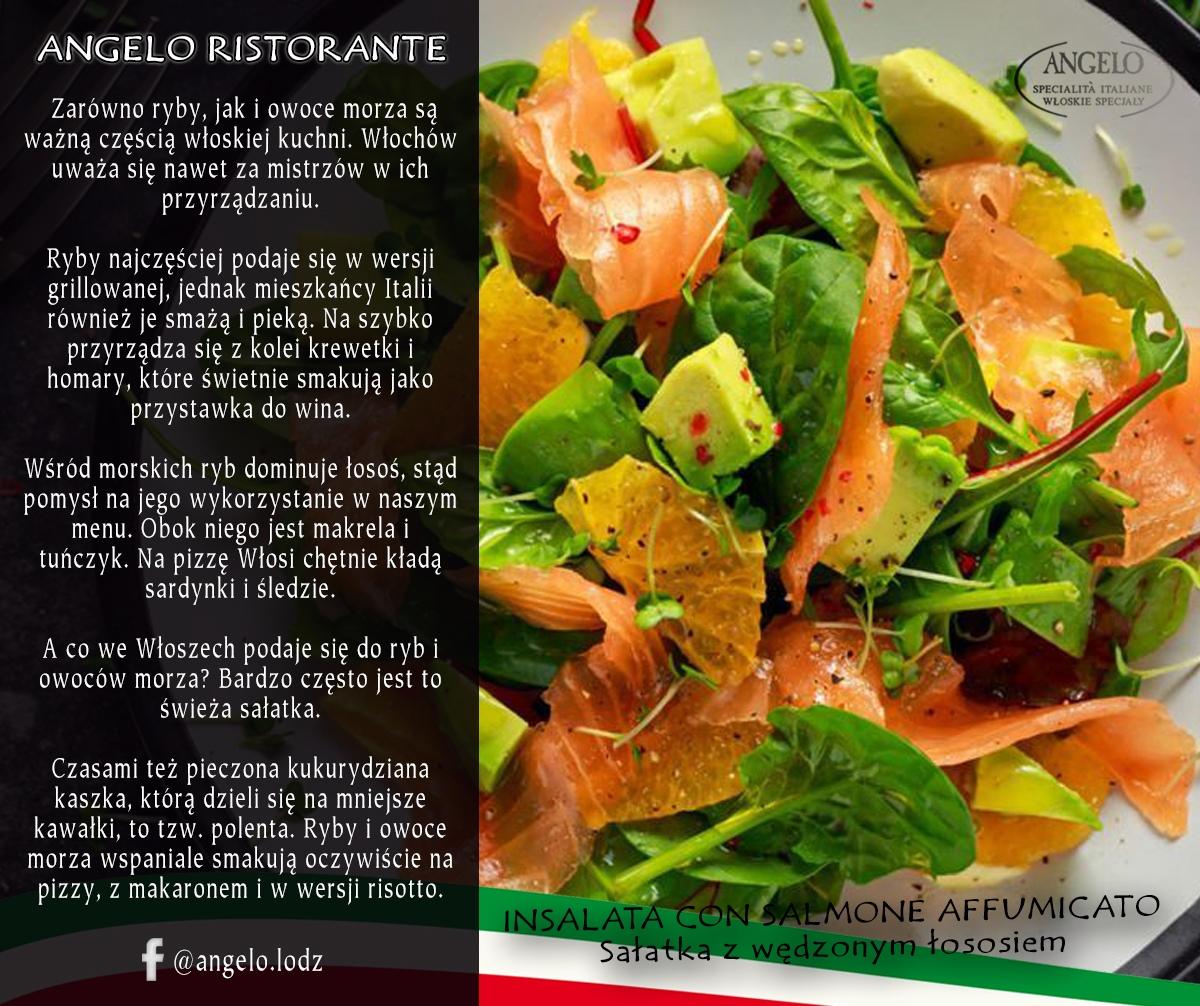 Sałatka z wędzonym łososiem Angelo Ristorante włoska restauracja w łodzi